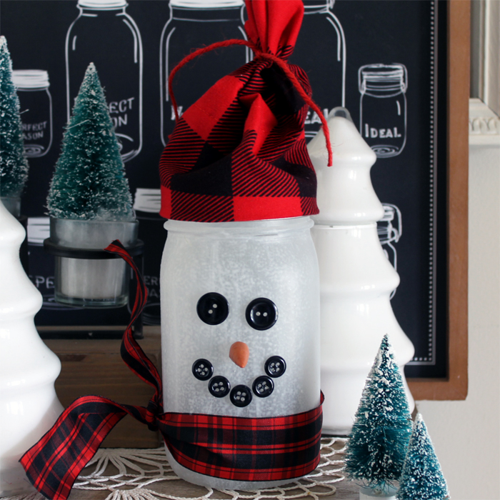 Make this snowman jar luminary for your home or as a gift idea!
