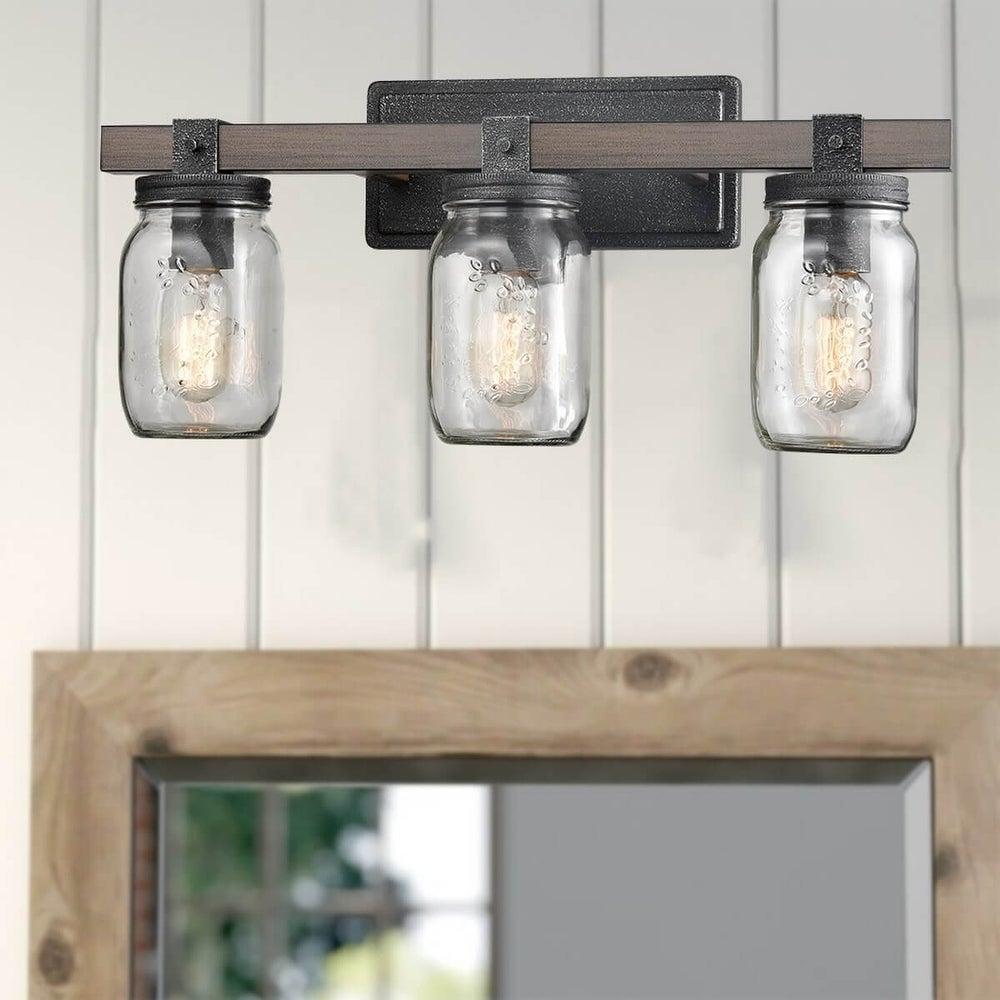 three mason jar wall light