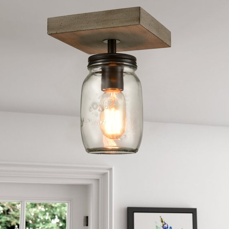mason jar ceiling mount light