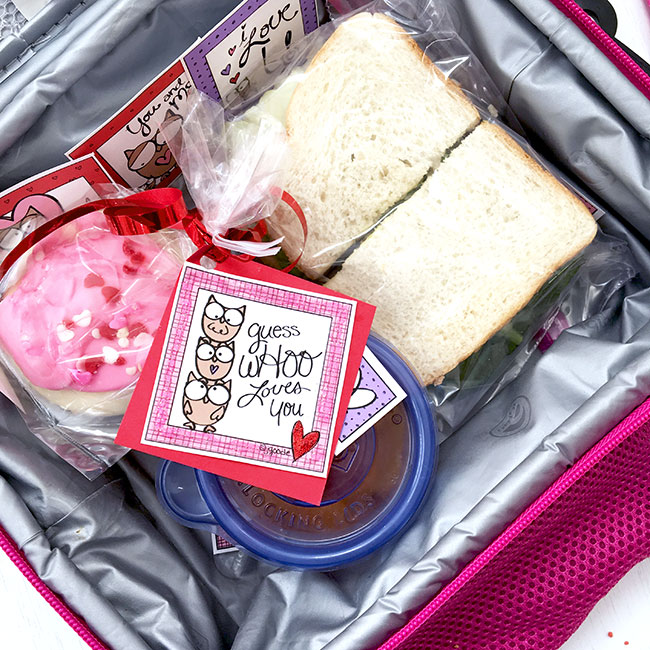 Place the lunch notes in your child's lunch box for a cute surprise