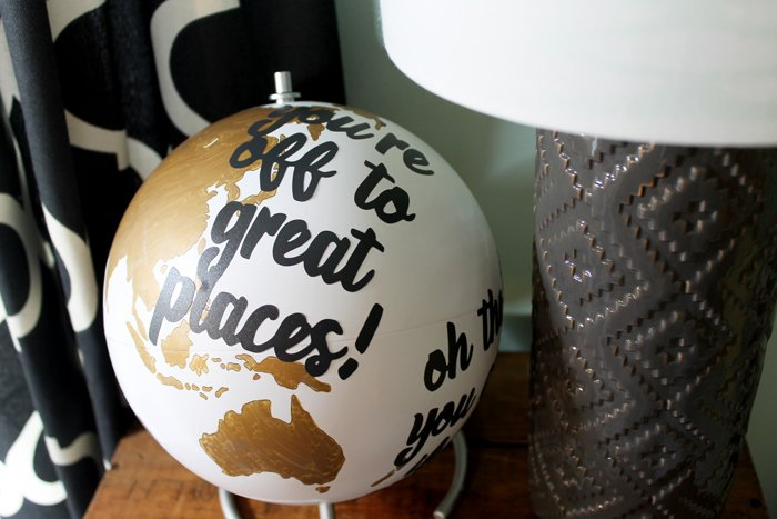 Dr. Seuss Quote Globe - an easy DIY project that is perfect for your home or a teacher's classroom! Use your Silhouette to make this even easier!