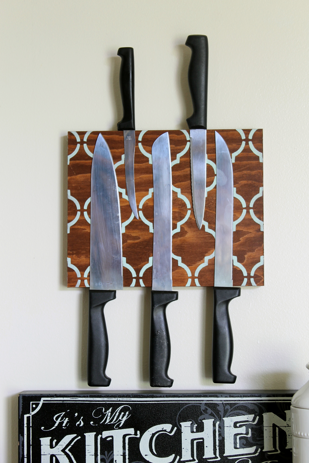 This magnetic knife block is a fun DIY project that looks great in your kitchen!