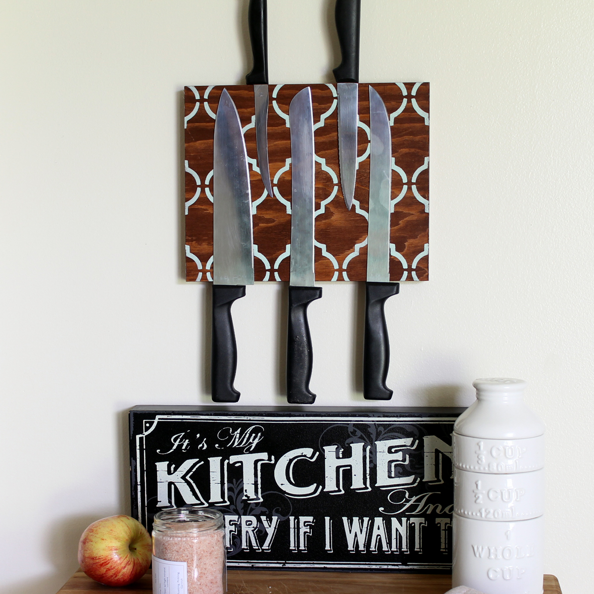 Make this easy magnetic knife block for your kitchen in just a few simple steps