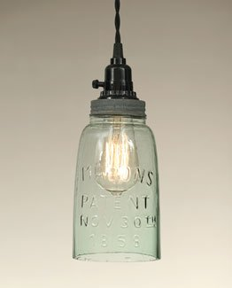 Mason Jar Kitchen Lights - great idea for adding some farmhouse flair to your home!