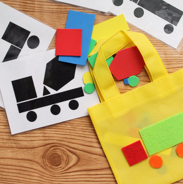 Toddler Busy Bag - make these truck shapes to keep your toddler busy anywhere that you go! A fun activity for those in pre-school!