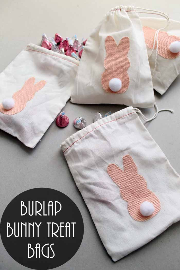 Make these burlap bunny treat bags for Easter! Cute and easy to make!