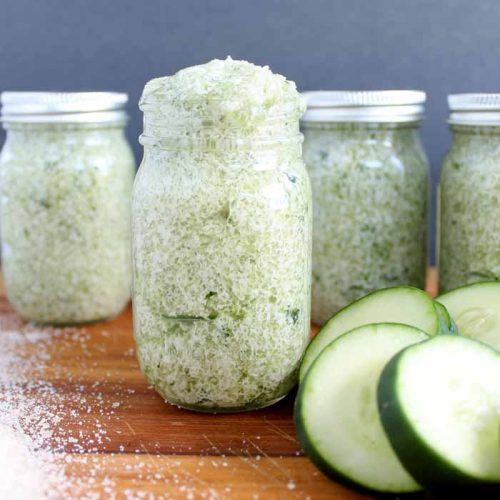 Give this cucumber mint sugar scrub recipe a try! Refreshing and great for your skin!