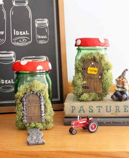 Make this fairy house mason jar craft! A fun spring craft idea for your home decor!