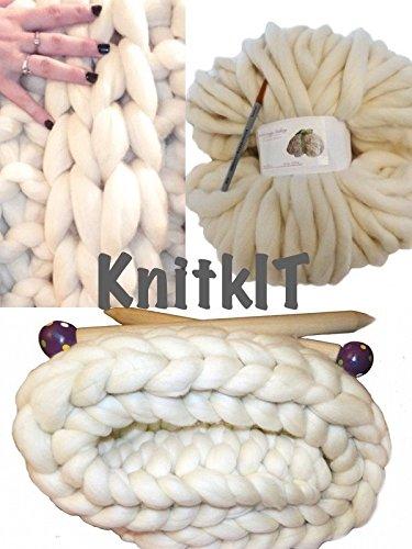 Kit for making an oversized knit blanket.