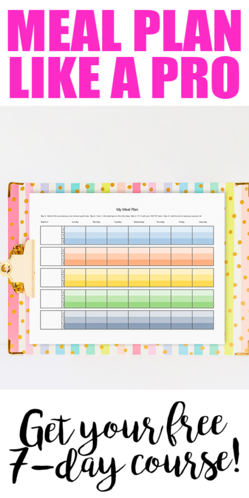 Get your free 7-day meal planning tips and tricks course. If you need help with meal planning ideas, this is the course for you! #mealplanning #mealplan #freecourse #course