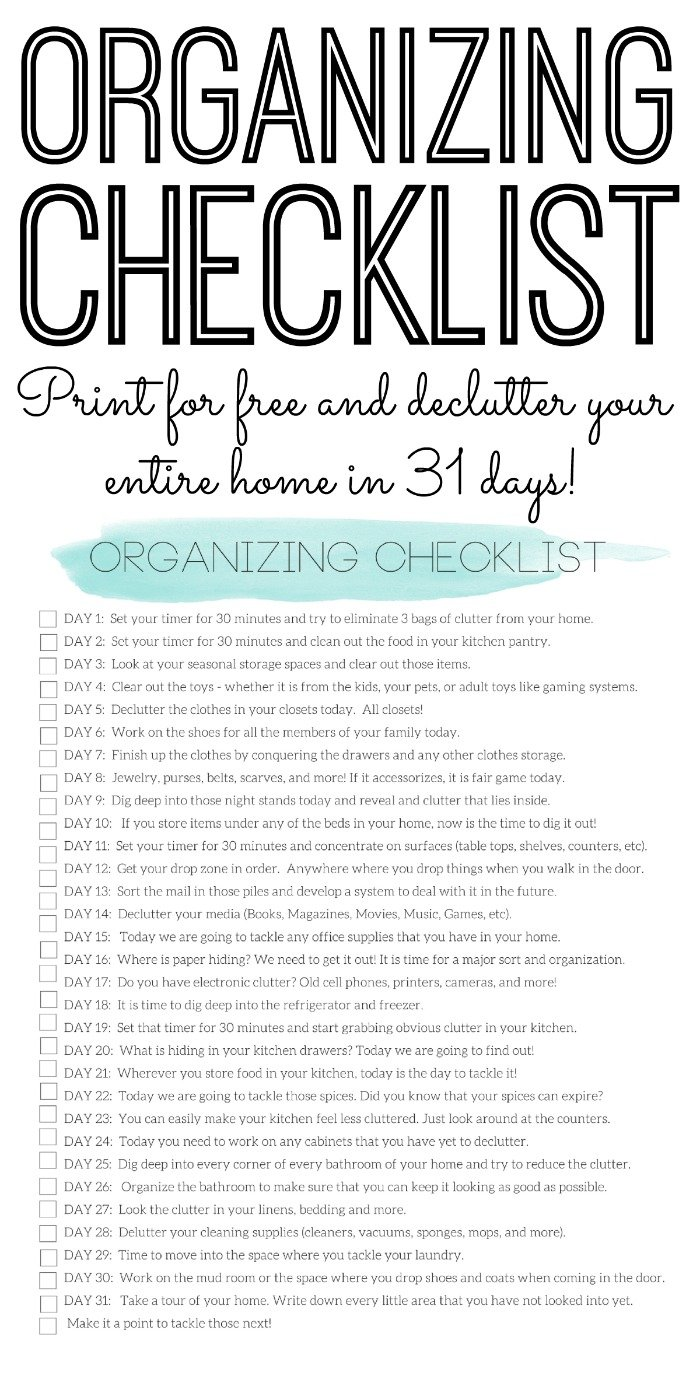 Organizing Checklist - Declutter Your Home in 31 Days - The Country ...