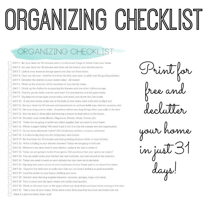 organizing checklist - declutter your home in 31 days - the