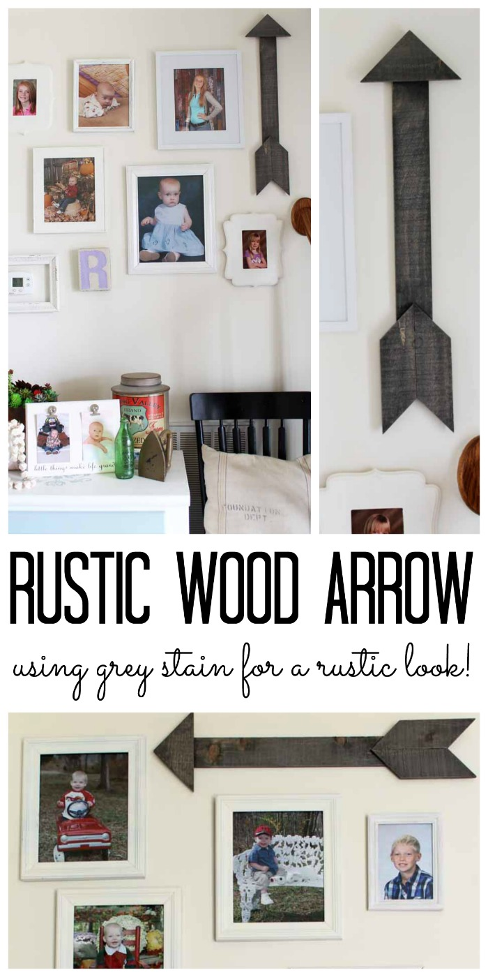 Rustic Wood Arrow - getting a barnwood look using grey stain for a rustic, farmhouse feel!