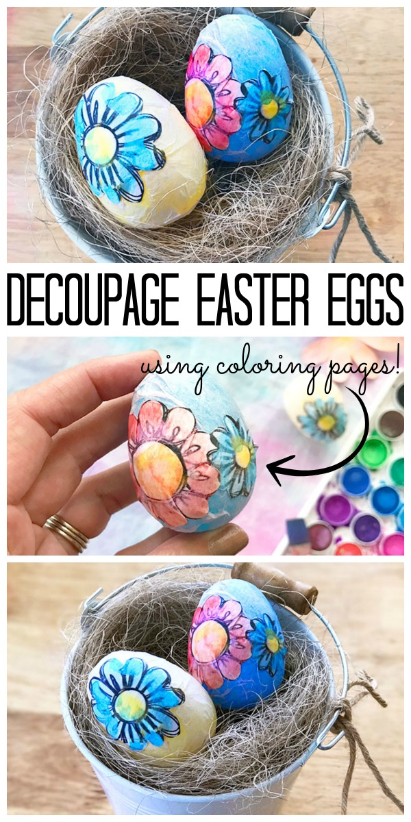 Make these decoupage Easter eggs using coloring pages! Cute spring decor idea!