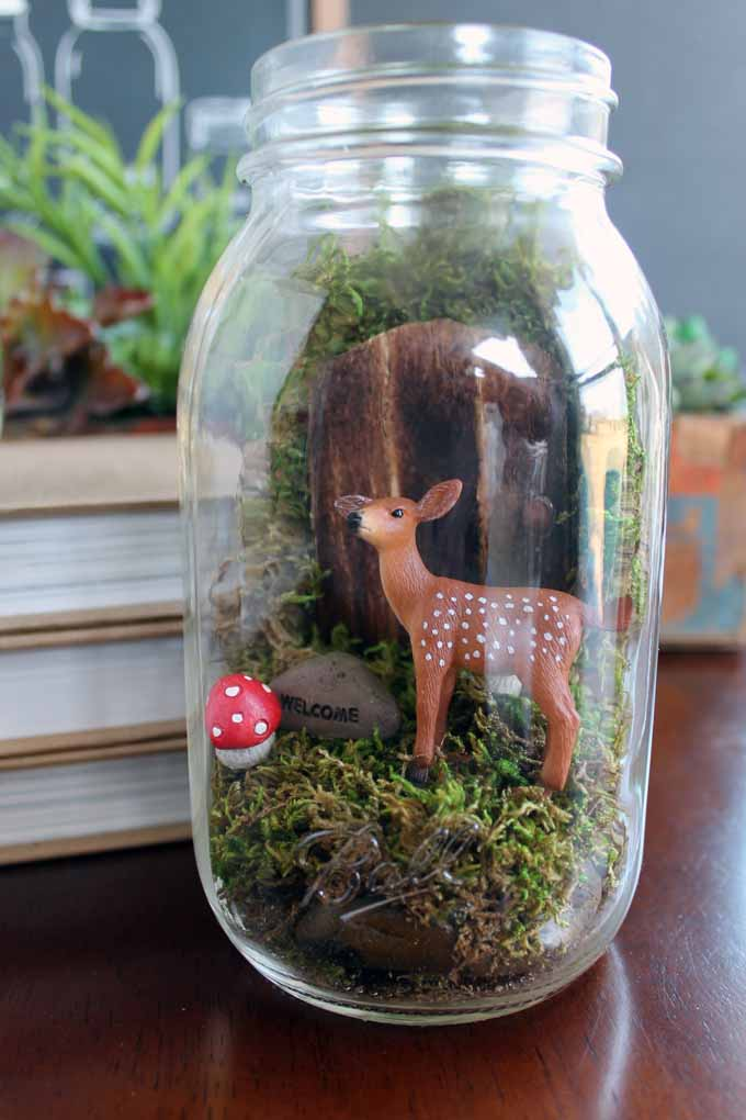 Make this fairy garden terrarium from a mason jar! A quick and easy craft project that makes a great gift idea!