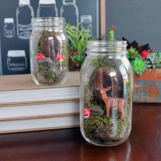 fairy garden terrarium in a mason jar