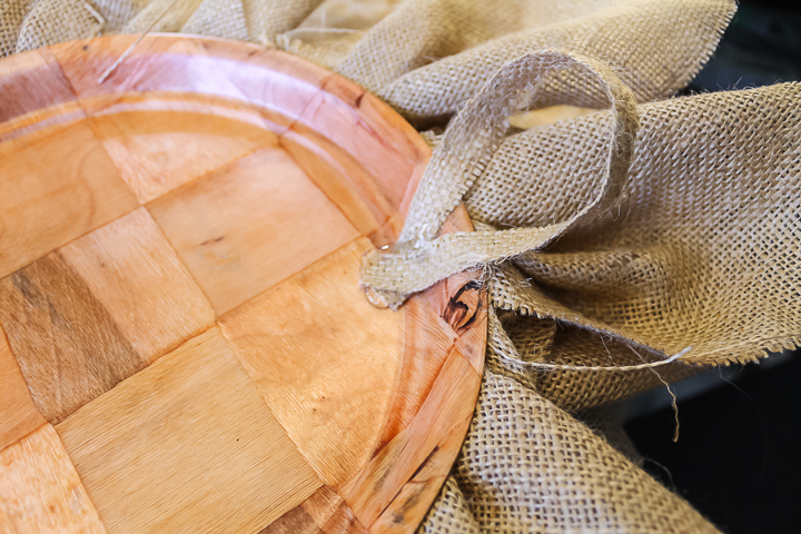 burlap string on the back of wreath