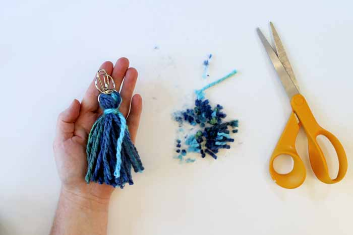 completed tassel keychain