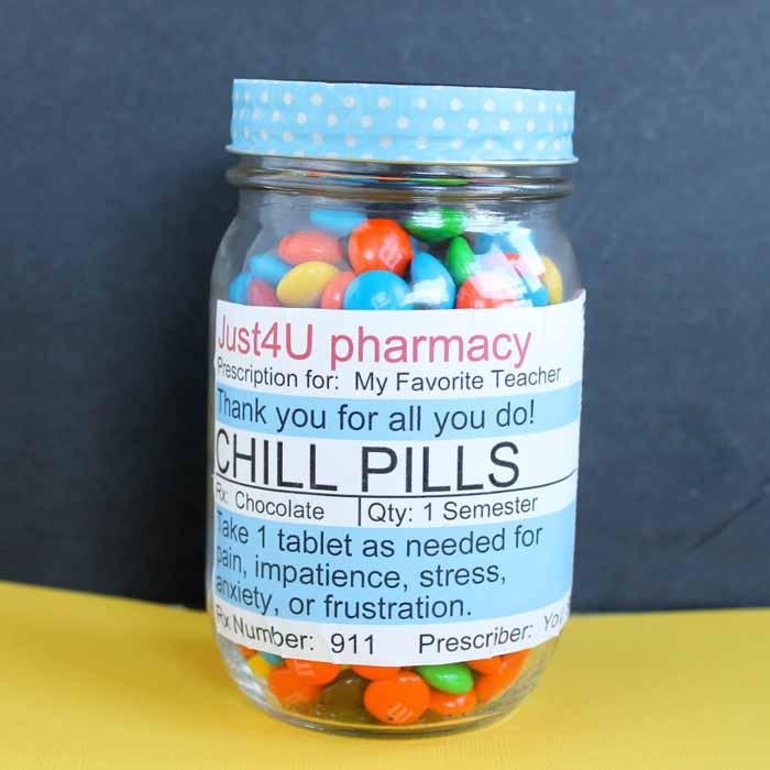 Chill Pill Teacher Thank You Gift