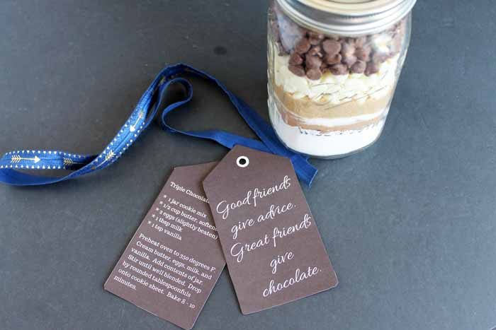 Triple Chocolate Chip Cookies Recipe along with a way to give these as a gift in a jar to a friend!