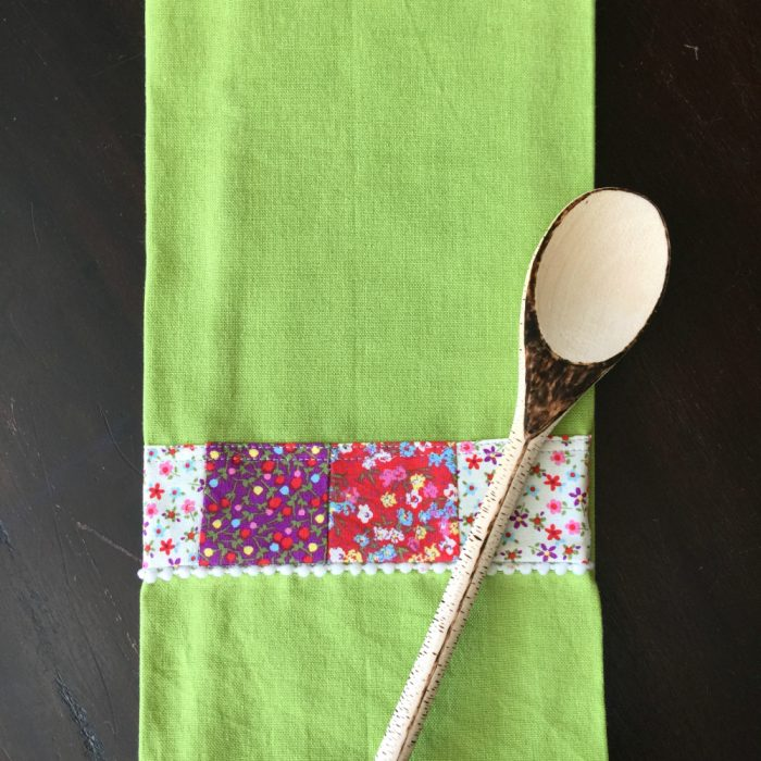 fabric scrap tea towel with wooden spoon