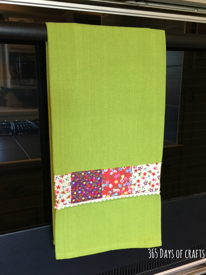 fabric scrap tea towel on rail