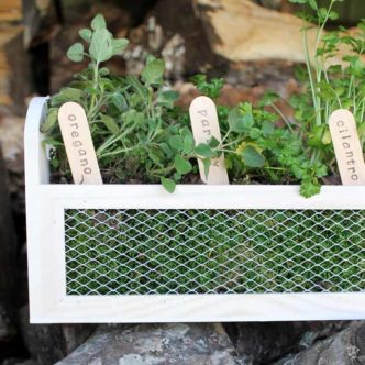 Herb Garden Planter:  Make this wood and metal box!