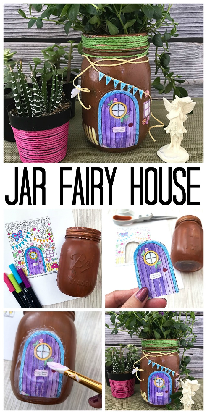 How to make a fun mason jar fairy house! Use this mason jar as a planter or fun fairy garden decoration