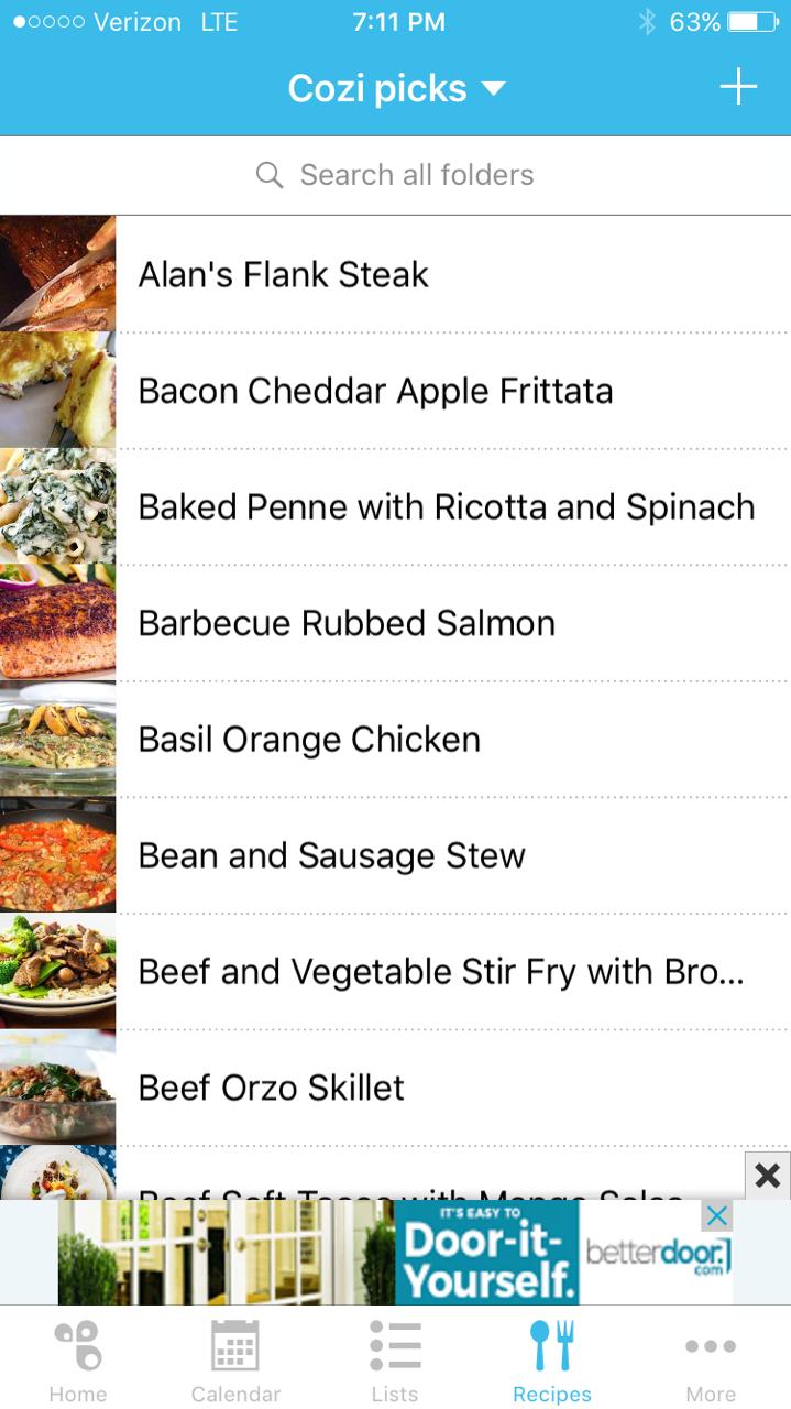 how to organize recipes digitally with cozi