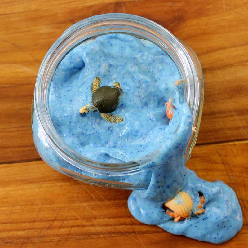 Make this ocean slime for kids! A NO Borax recipe!