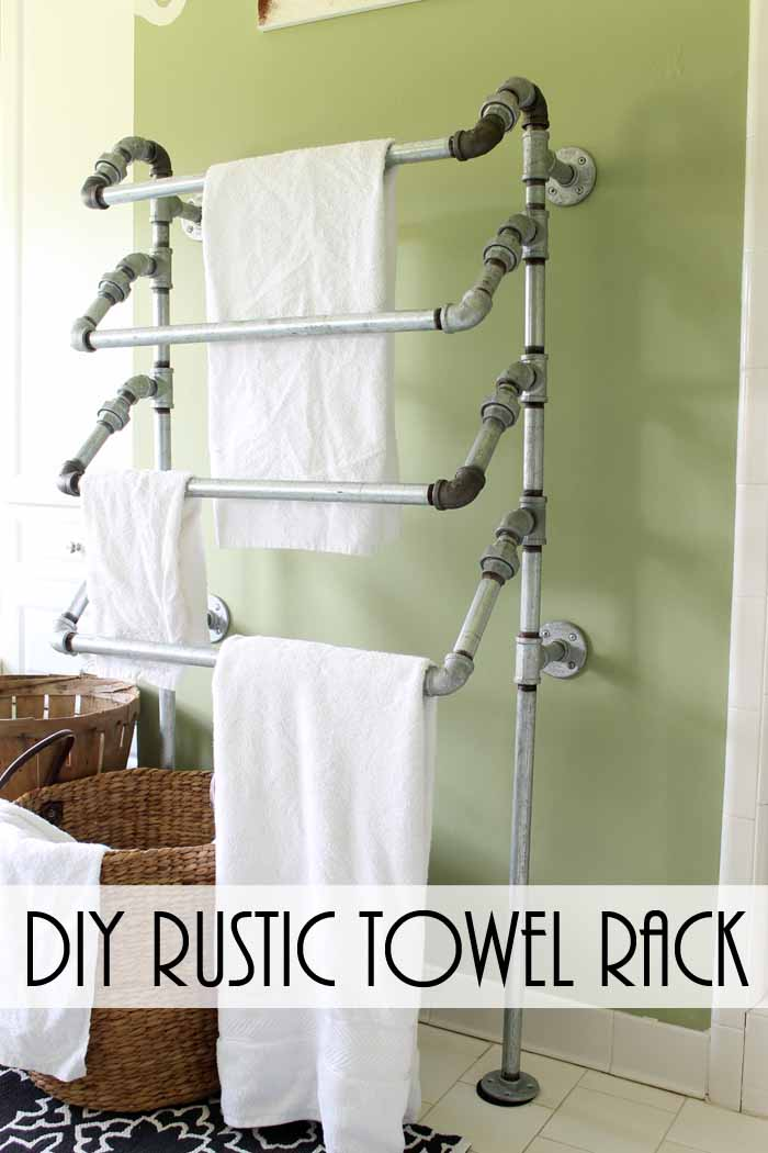 Diy Rustic Towel Rack From Pipes The Country Chic Cottage