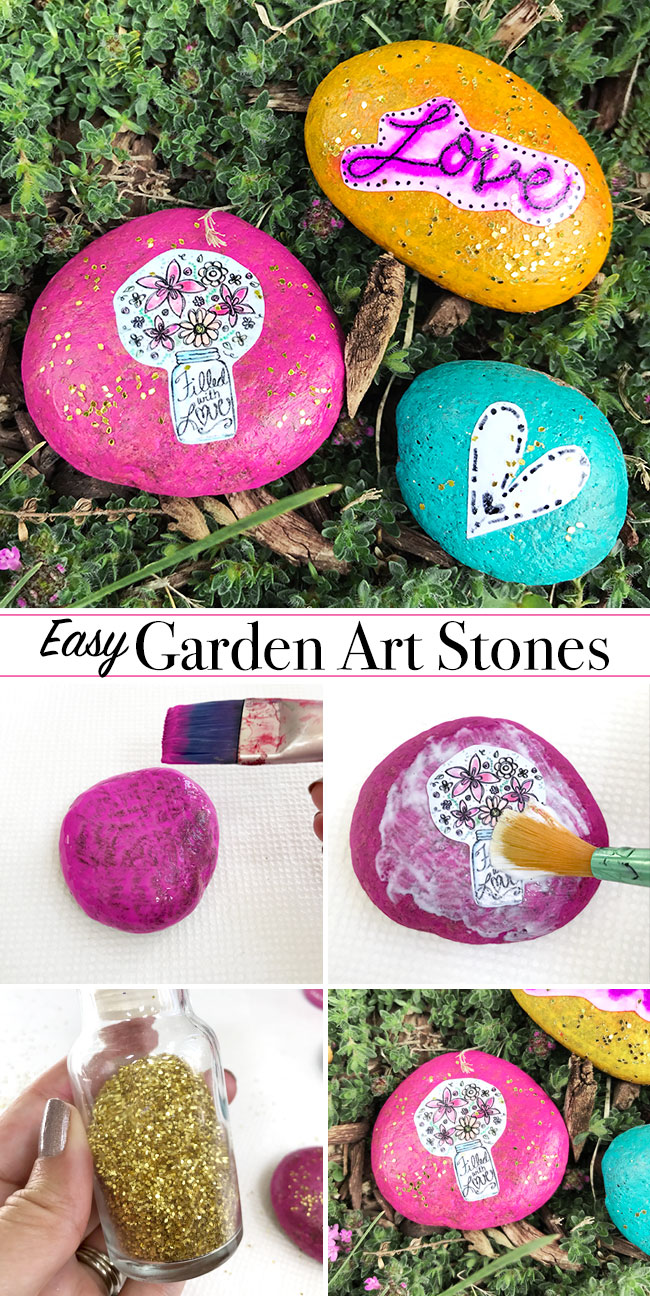 Easy Decorative Garden Stones The Country Chic Cottage