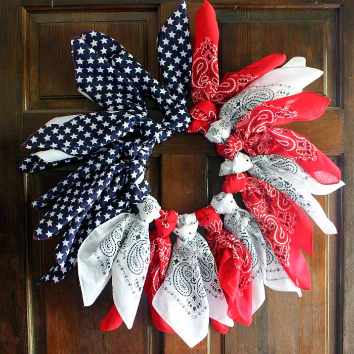 Make this patriotic wreath from bandannas and