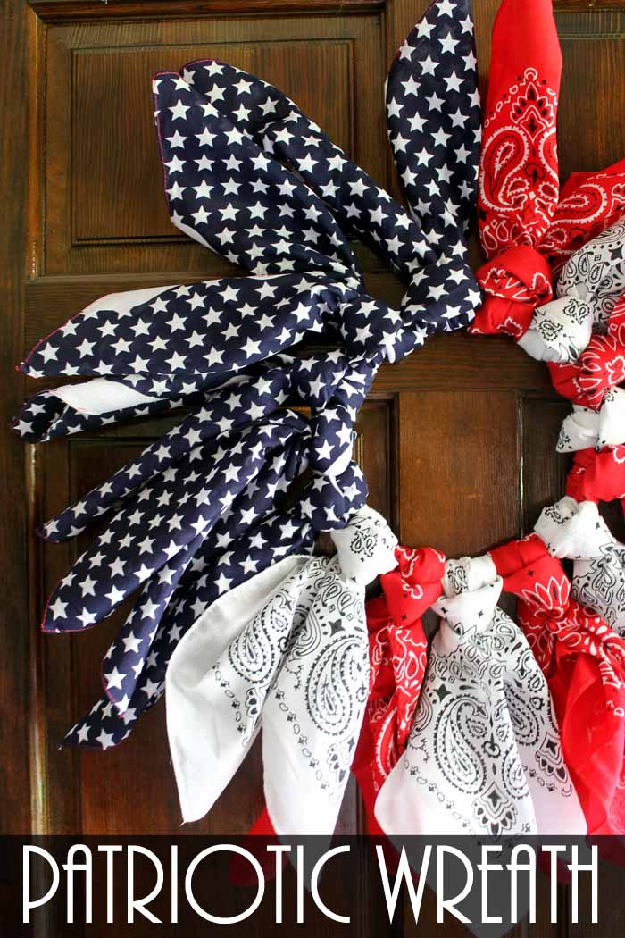 Make this patriotic wreath from bandannas and just one other supply! Make in 15 minutes or less!