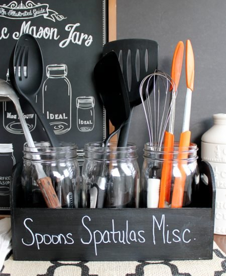 Make this utensil organizer for your home! An easy project using mason jars!