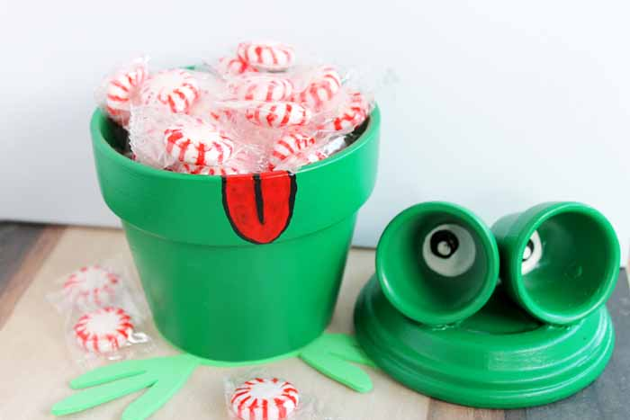 These adorable frog planter pots are perfect for holding candy