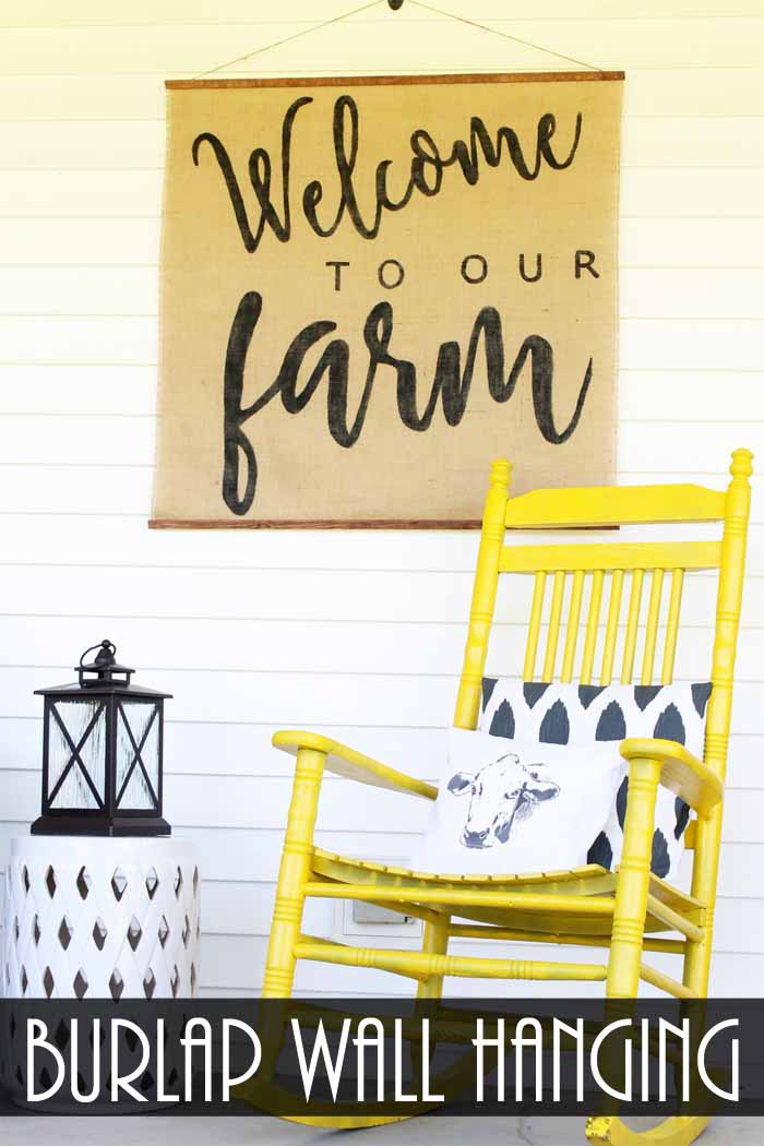 Make this handmade wall hanging with burlap! A great farmhouse style addition inside or outside of your home!
