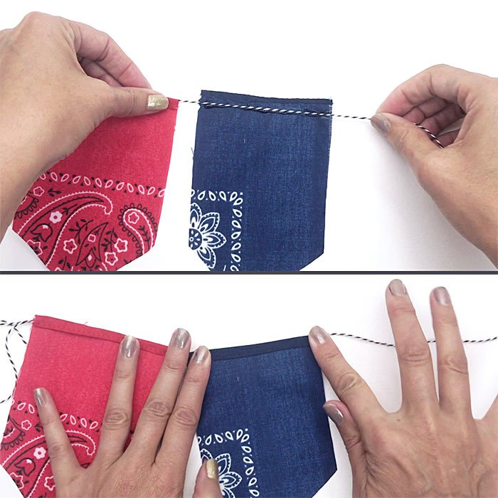 Make this patriotic bandana banner with just a few supplies!