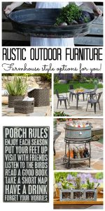 Rustic outdoor furniture options with farmhouse style! Order online and have it delivered!