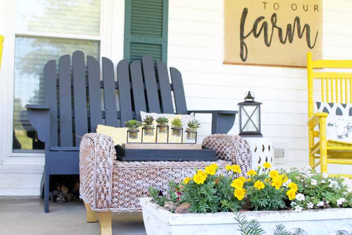 Vintage Farmhouse Decor On The Porch I Love This Colorful And Rustic