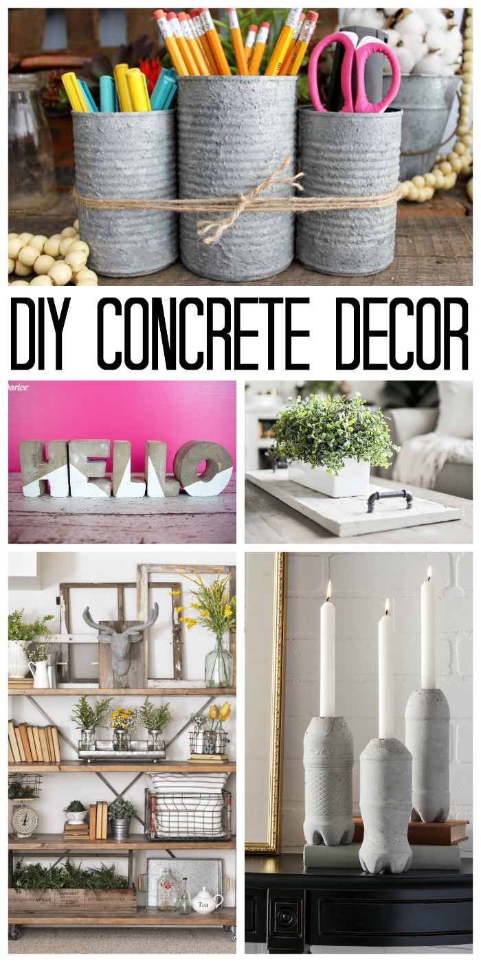 These DIY concrete decor ideas are perfect for your home! Make one or more today!