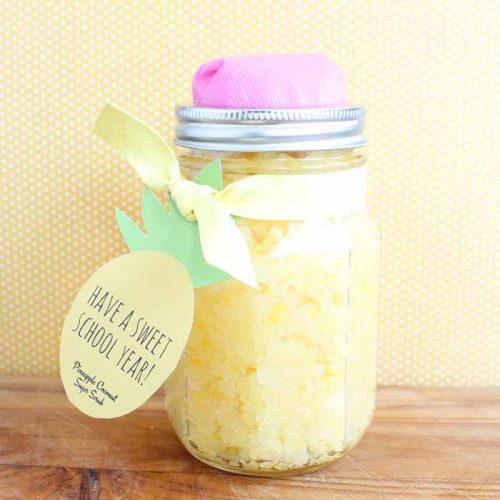 teacher gift of a pencil mason jar filled with sugar scrub