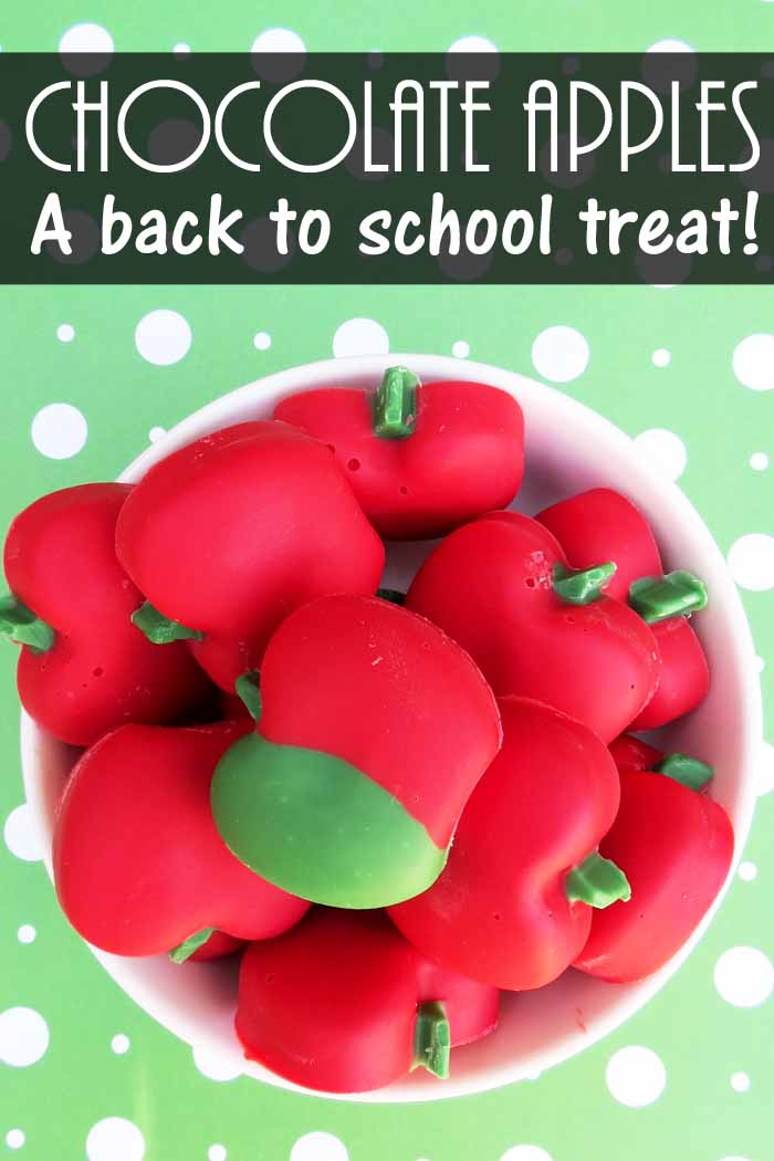 These chocolate apples make a great back to school treat for teachers and students!