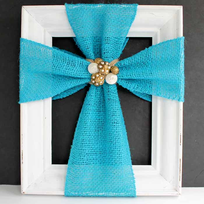 Make this cross decor with burlap ribbon. A quick and easy home decor project!
