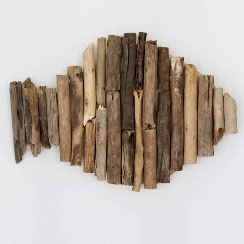 driftwood fish on white wall