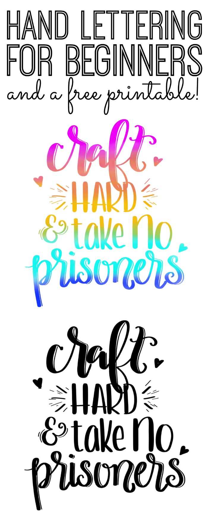 Hand Lettering for Beginners - a free printable and information on a course to make art for yourself!