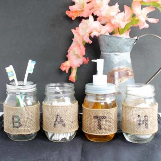 Mason Jar Bathroom Set:  Make Your Own