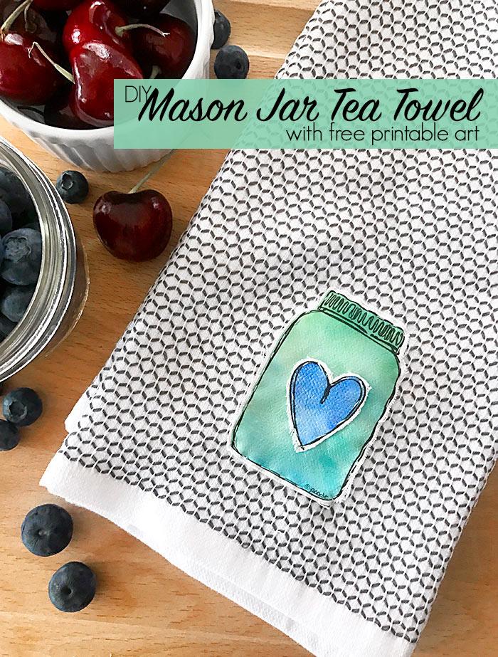 Easy DIY Mason Jar Tea Towel