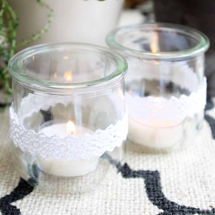 Great yogurt dessert idea with a recycled craft idea for the container! This great french yogurt comes in glass containers!