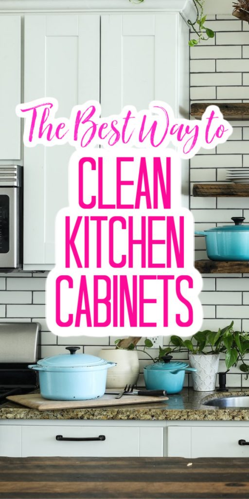 Clean your kitchen cabinets and make them shine with our natural cleaning ideas! You will love how these cleaning tips make your home look! #kitchen #cabinets #clean #cleaning